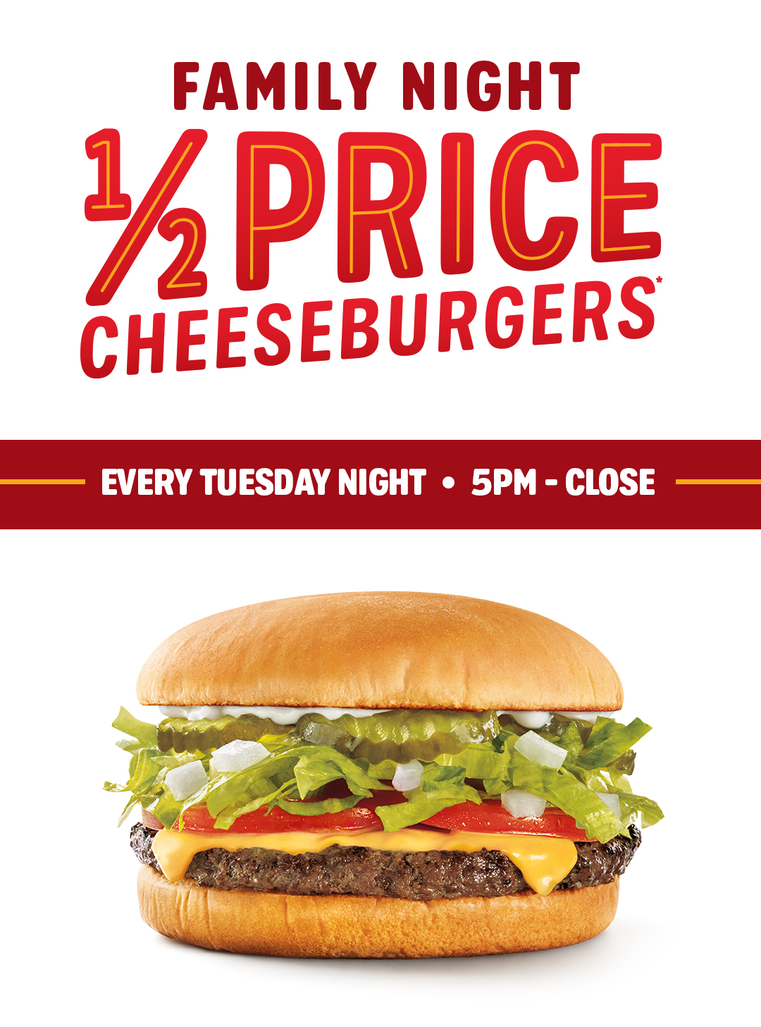 Half price SONIC Cheeseburgers Tuesday nights 5pm-close!