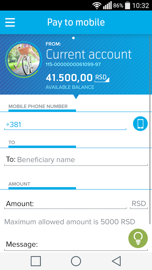Telenor banka- screenshot