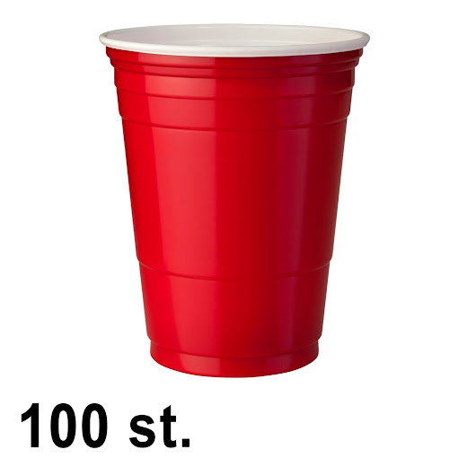 100 st. Red Cups Röda Muggar (16 Oz.)