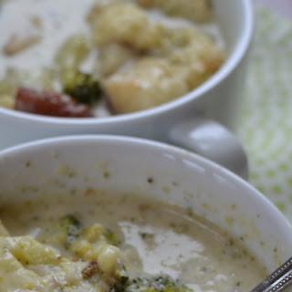 Roasted Broccoli Cauliflower Potato Soup.