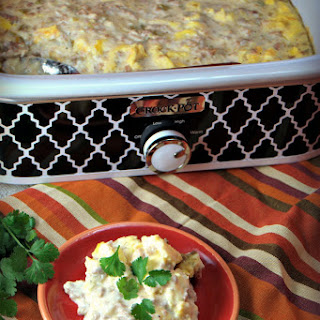 Crock Pot Scrambled Egg Casserole with Sausage and Green Chilies.
