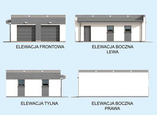 G1a 2 szkielet drewniany, garaż dwustanowiskowy z pomieszczeniem gospodarczym - Elewacje