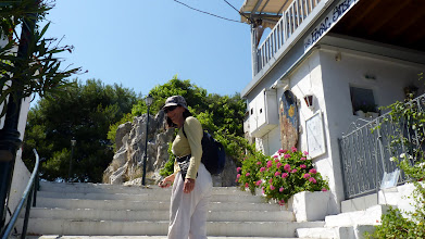 Photo: We walk up to the bacony at Skiathos town