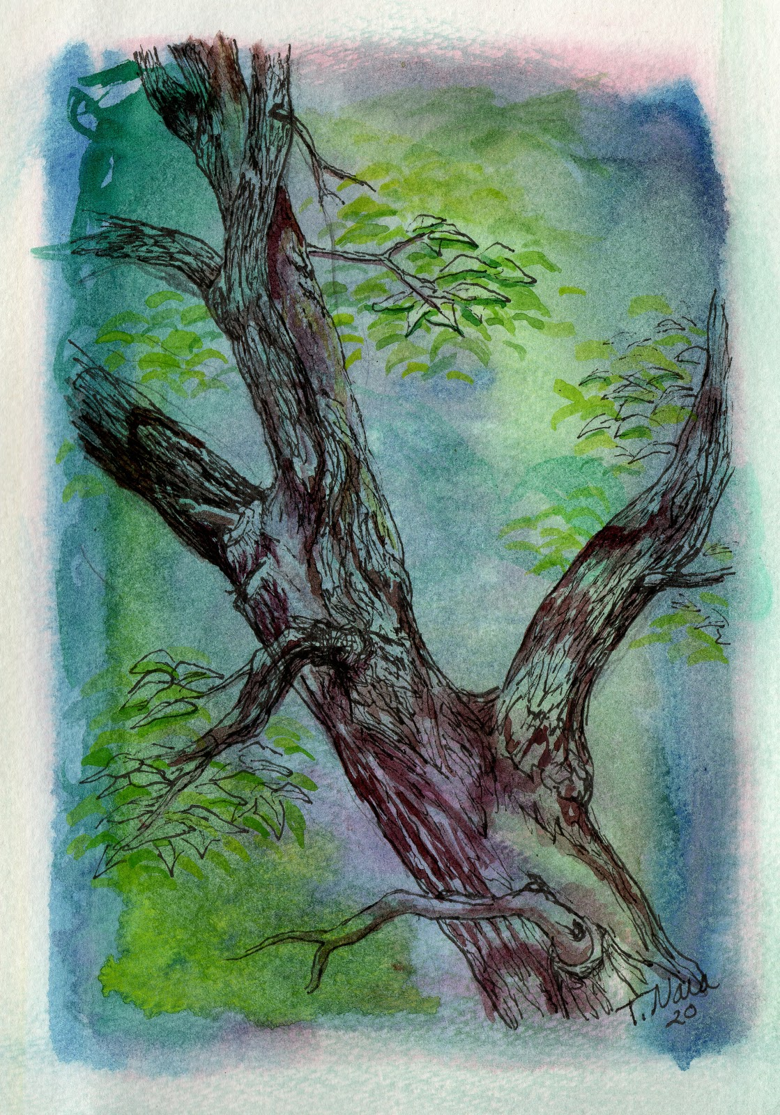 Painting of a tree trunk with some dead branches