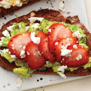 Mashed Avocado and Strawberry Toast.