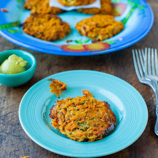 Baked Chipotle Sweet Potato and Zucchini Fritters (vegan, gluten-free) with Homemade Spicy Honey Mustard (gluten-free with vegan option).