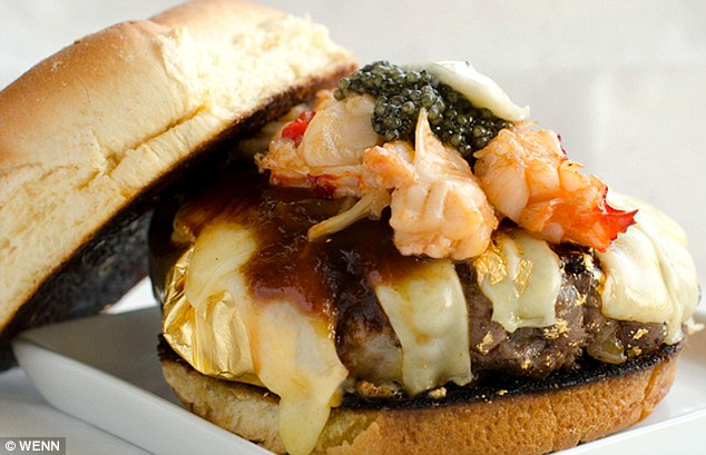Third: The $666 '666 Burger' from New York City, is foie gras-stuffed Kobe patty topped with gruyere cheese melted with champagne steam, lobster, truffles, caviar, and a BBQ sauce made with Kopi Luwak coffee beans