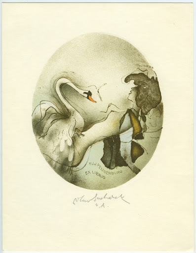 222. Bookplate. P. J. J. PEIJNENBURG. leda and the swan in an oval.