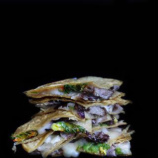 Recipe for Squash Blossom Quesadillas with radicchio, avocado and brie