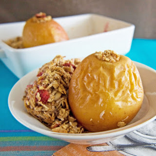 Baked Apples Stuffed with Strawberry-Coconut Oatmeal