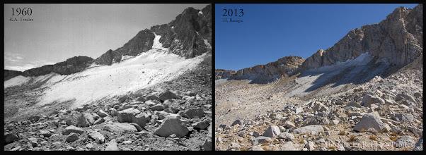 Photo: Conness Glacier Station: 55 Source: 1960 - National Park Service 2013 - The Glacier RePhoto Project