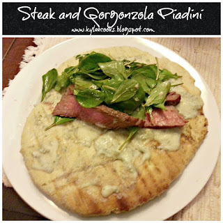STEAK AND GORGONZOLA PIADINI