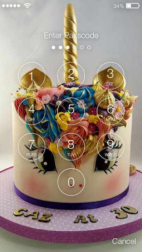 Screenshot for Sweet Unicorn Cake Screen Lock in United States Play Store