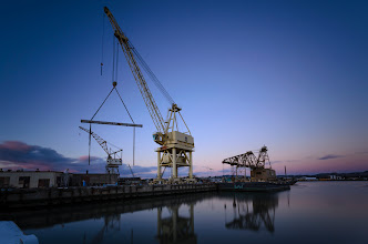 Photo: At-At at Mare Island Mare Island, CA. 2012.  Had a terrific time last night as we walked through Mare Island with a lot of friends. Happy Birthday +Swee Oh, thanks for organizing +Doug Kaye.  This was probably my best shot of the evening -- I wandered off onto some barges that were tied off together, and put the big-stopper to good use.  172 sec exposure @ sunset.  #sunset  #longexposure  #NightMareIsland