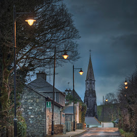Fore Village ,County Westmeath,Ireland At Dusk  by Willie Forde - City,  Street & Park  Street Scenes ( ireland, village, westmeath, irish, fore, evening, dusk )