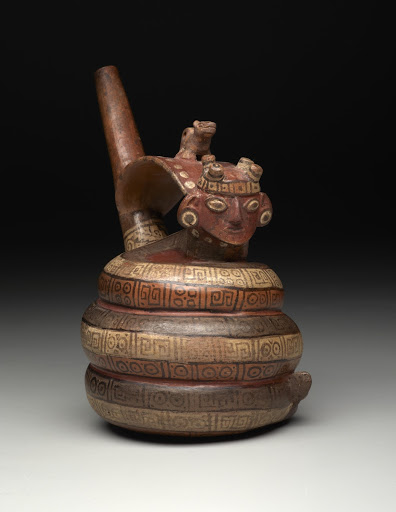 Strap-handle whistle vessel: snake with human and serpent heads