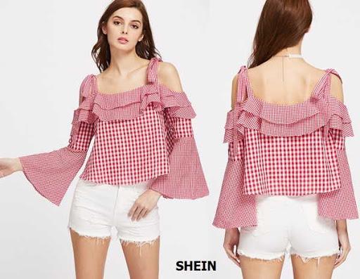 Blusa de tiras anchas de atar en el hombro a cuadros manga acampanada por Shein