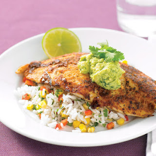Spicy White Fish with Rice and Guacamole.