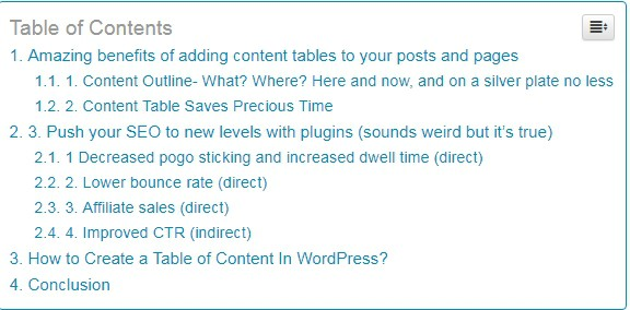 Tables of content in WordPress save time- Click and go.