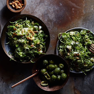 Shaved Brussels Sprouts, Pine Nuts, and Green Olives.
