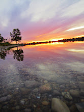 Photo: Sunset reflected in a clear lake at Eastwood Park in Dayton, Ohio.