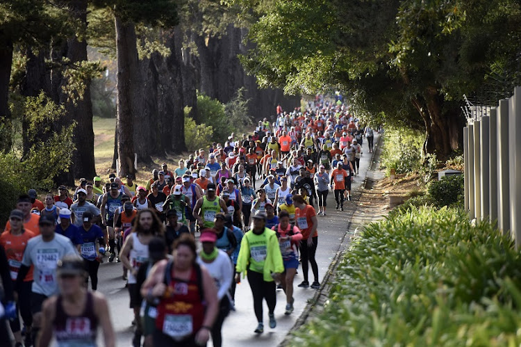 Athletes during the 2019 Old Mutual Two Oceans Half Marathon 21.1km on April 20, 2019 in Cape Town, South Africa.