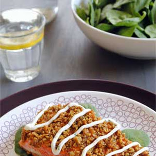 Baked Crusted Salmon With Creamy Chive Sauce