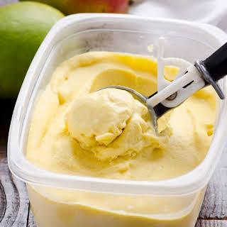 Clean Eating No Churn Mango Ice Cream.