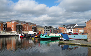 Photo: Barges moored on the canal