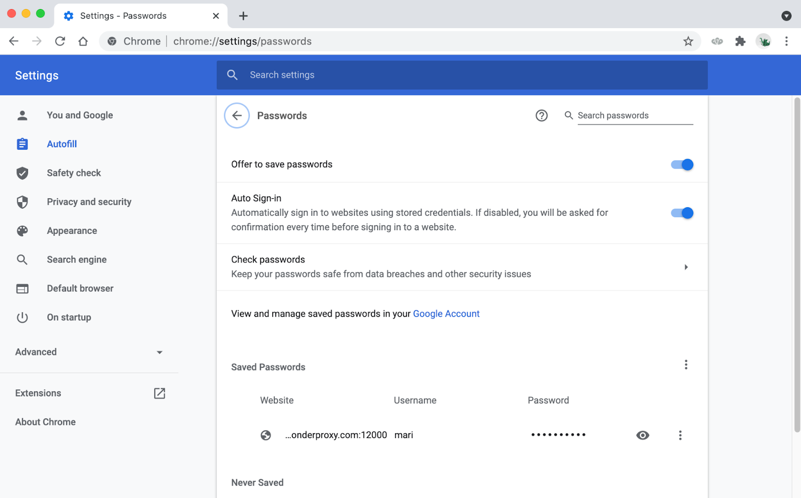 Chrome password manager with one set of proxy credentials saved