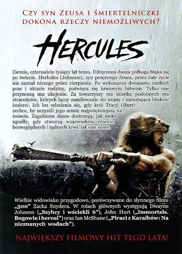 Tył ulotki filmu 'Hercules'