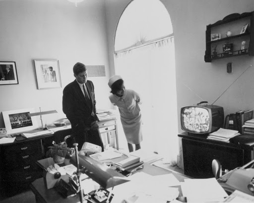 President and Mrs. Kennedy watch Alan Shepard's lift off