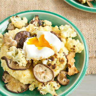 Polenta with Roasted Cauliflower, Mushrooms, and Poached Egg.