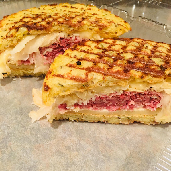 Gluten Free  Reuben on their homemade gluten free rosemary focaccia roll