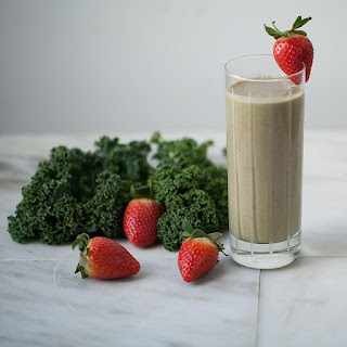 Peanut Butter-Strawberry-Kale Smoothie.