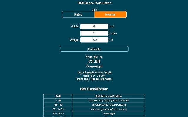 BMI Score Calculator