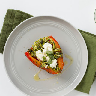 Roasted Red Peppers Stuffed with Goat Cheese, Pesto and Zucchini Noodles Recipe