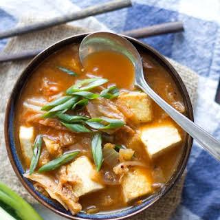 Kimchi Stew with Tofu and Shiitakes.