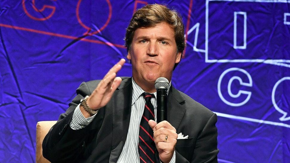 LOS ANGELES, CA - OCTOBER 21: Fox News anchor Tucker Carlson speaks during Politicon 2018 at Los Angeles Convention Center on October 21, 2018 in Los Angeles, California.