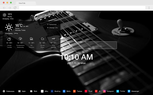 Guitar New Tab HD Pop Instruments Theme
