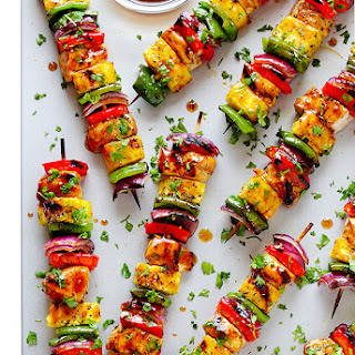 Rainbow Hawaiian Chicken Kabobs
