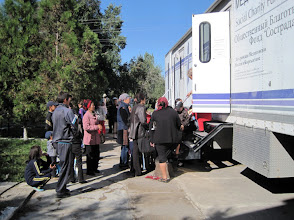 Photo: The guests were taken to the town of Tokmok to see a mobile medical trailer which has been working in Kyrgyzstan since 1999. The mobile medical trailer has enough room for 2 dentists, a gynecologist, a pediatrician and a laboratory.