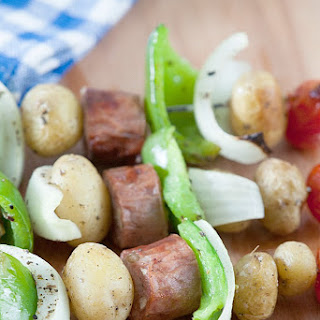 Healthy Chicken Sausage & Peppers Skewers.