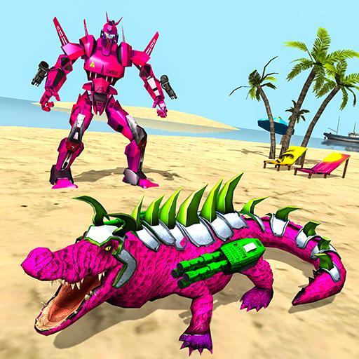 Jogo de transformação de crocodilo robô real
