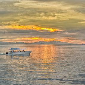 Sunset Arrival by Ricky Cuaresma - Transportation Boats ( sunset, boat )