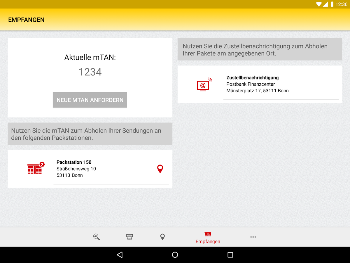 DHL Paket – Screenshot