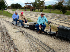 Photo: Gary Brothers, Bob Barnett, and Ed Rains are off to test Bob Barnett's new MCC riding car.       2013-1116 RPW
