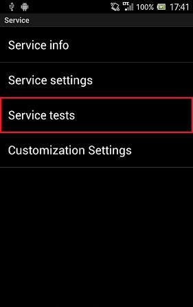 Chọn mục service test