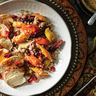 Pomegranate Chicken with Warm Carrot Salad.