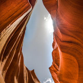 Looking up to the blue sky from canyon crevice by Kathy Dee - Nature Up Close Rock & Stone ( landmark, red, sky, blue, crevice, canyon, rock, looking up )